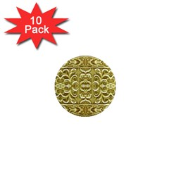 Gold Plated Ornament 1  Mini Button Magnet (10 Pack) by dflcprints