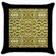 Gold Plated Ornament Black Throw Pillow Case by dflcprints
