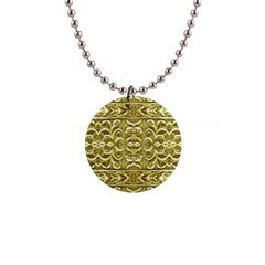 Gold Plated Ornament Button Necklace