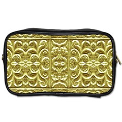 Gold Plated Ornament Travel Toiletry Bag (one Side)