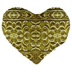 Gold Plated Ornament 19  Premium Heart Shape Cushion by dflcprints