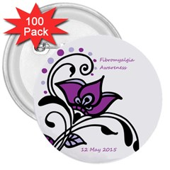 2015 Awareness Day 3  Button (100 Pack) by FunWithFibro
