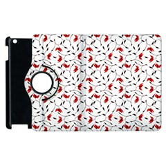 Delicate Red Flower Pattern Apple Ipad 3/4 Flip 360 Case by CreaturesStore
