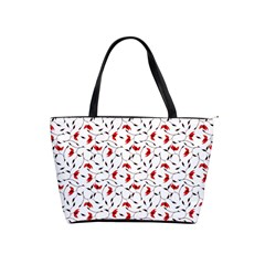 Delicate Red Flower Pattern Large Shoulder Bag by CreaturesStore
