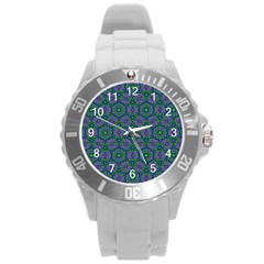 Retro Flower Pattern  Plastic Sport Watch (large) by SaraThePixelPixie