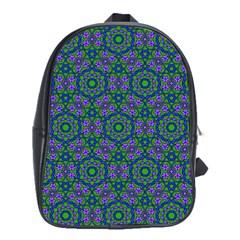 Retro Flower Pattern  School Bag (large) by SaraThePixelPixie