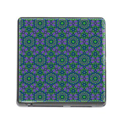 Retro Flower Pattern  Memory Card Reader With Storage (square) by SaraThePixelPixie