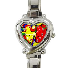 Abstract Heart Italian Charm Watch  by Siebenhuehner