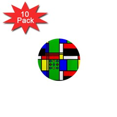Mondrian 1  Mini Button Magnet (10 Pack) by Siebenhuehner