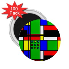 Mondrian 2 25  Button Magnet (100 Pack) by Siebenhuehner