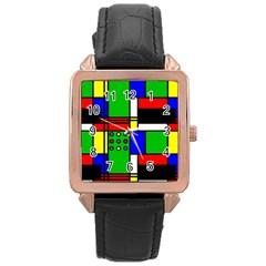 Mondrian Rose Gold Leather Watch  by Siebenhuehner