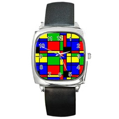 Mondrian Square Leather Watch by Siebenhuehner