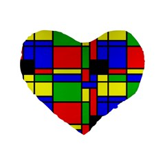 Mondrian 16  Premium Heart Shape Cushion  by Siebenhuehner