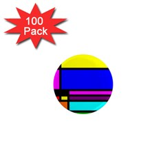 Mondrian 1  Mini Button Magnet (100 Pack) by Siebenhuehner