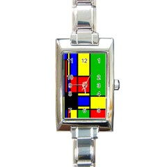 Mondrian Rectangular Italian Charm Watch by Siebenhuehner