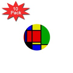 Mondrian 1  Mini Button (10 Pack) by Siebenhuehner