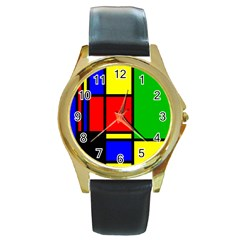 Mondrian Round Leather Watch (gold Rim)  by Siebenhuehner