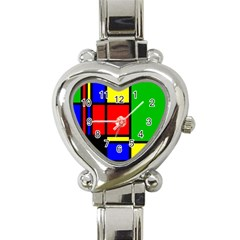 Mondrian Heart Italian Charm Watch  by Siebenhuehner