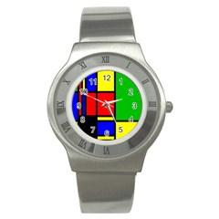 Mondrian Stainless Steel Watch (slim) by Siebenhuehner