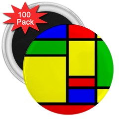 Mondrian 3  Button Magnet (100 Pack) by Siebenhuehner