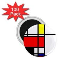 Mondrian 1 75  Button Magnet (100 Pack) by Siebenhuehner