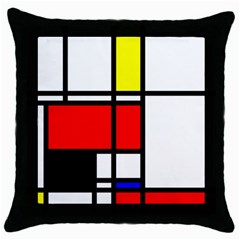 Mondrian Black Throw Pillow Case by Siebenhuehner