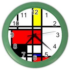 Mondrian Wall Clock (color) by Siebenhuehner