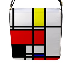 Mondrian Flap Closure Messenger Bag (large)
