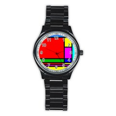 Mondrian Sport Metal Watch (black) by Siebenhuehner