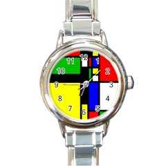 Abstrakt Round Italian Charm Watch by Siebenhuehner