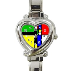 Abstrakt Heart Italian Charm Watch  by Siebenhuehner