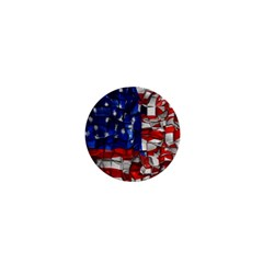 American Flag Blocks 1  Mini Button Magnet by bloomingvinedesign