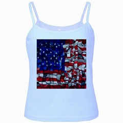 American Flag Blocks Baby Blue Spaghetti Tank by bloomingvinedesign