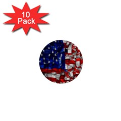 American Flag Blocks 1  Mini Button (10 Pack) by bloomingvinedesign