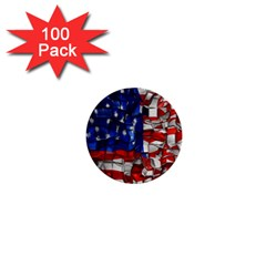 American Flag Blocks 1  Mini Button (100 Pack) by bloomingvinedesign