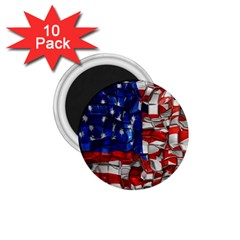 American Flag Blocks 1 75  Button Magnet (10 Pack) by bloomingvinedesign