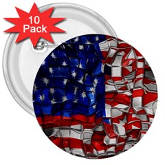 American Flag Blocks 3  Button (10 Pack) by bloomingvinedesign