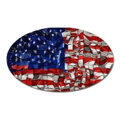 American Flag Blocks Magnet (oval) by bloomingvinedesign