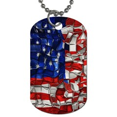 American Flag Blocks Dog Tag (one Sided) by bloomingvinedesign
