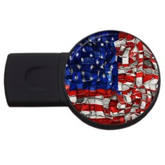 American Flag Blocks 2gb Usb Flash Drive (round) by bloomingvinedesign