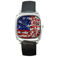 American Flag Blocks Square Leather Watch by bloomingvinedesign