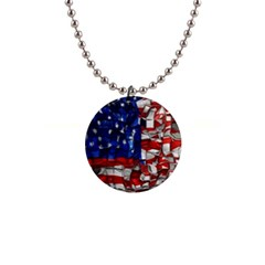 American Flag Blocks Button Necklace by bloomingvinedesign