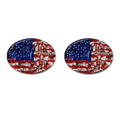 American Flag Blocks Cufflinks (oval) by bloomingvinedesign