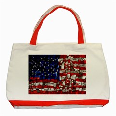 American Flag Blocks Classic Tote Bag (red) by bloomingvinedesign