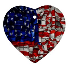 American Flag Blocks Heart Ornament (two Sides) by bloomingvinedesign
