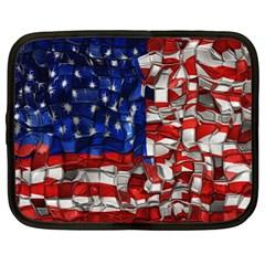 American Flag Blocks Netbook Sleeve (large) by bloomingvinedesign