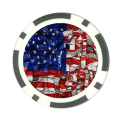 American Flag Blocks Poker Chip (10 Pack) by bloomingvinedesign