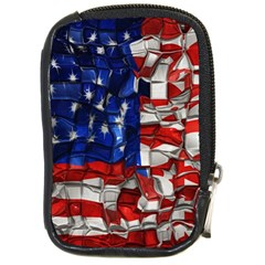 American Flag Blocks Compact Camera Leather Case by bloomingvinedesign