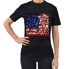 American Flag Blocks Women s T Shirt (black) by bloomingvinedesign