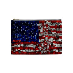 American Flag Blocks Cosmetic Bag (medium) by bloomingvinedesign